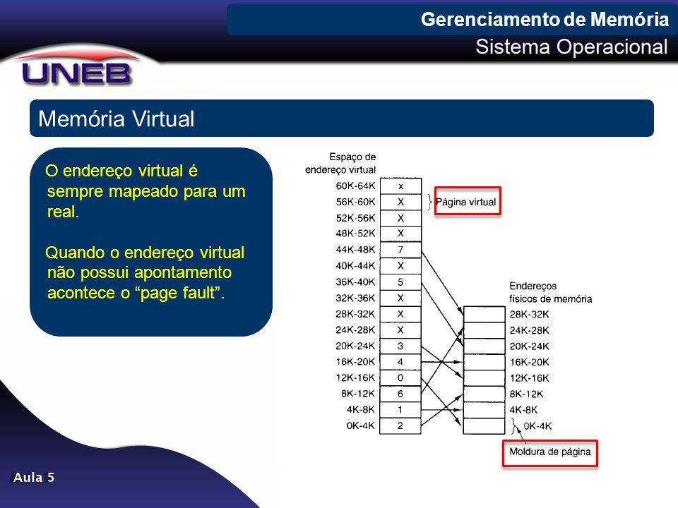 Gerenciamento de Memória Memória Virtual O endereço virtual é sempre mapeado para um real. Quando o endereço virtual não possui apontamento acontece o