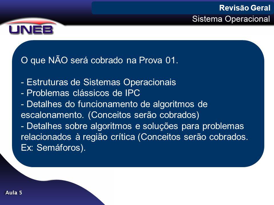 O que NÃO será cobrado na Prova 01. - Estruturas de Sistemas Operacionais - Problemas clássicos de IPC - Detalhes do funcionamento de algoritmos de es