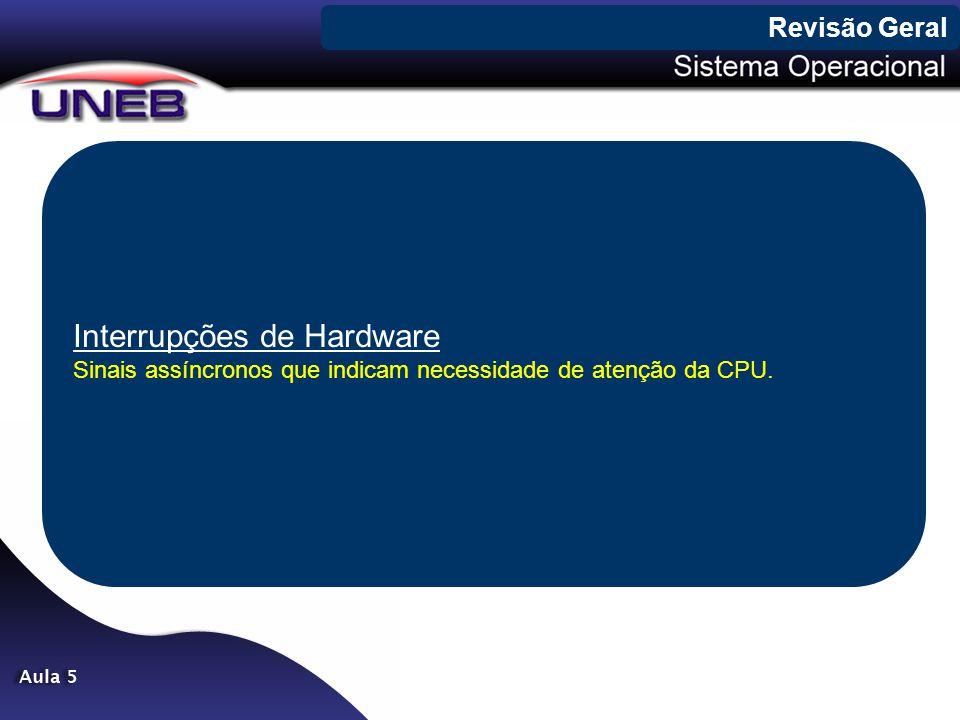 Interrupções de Hardware Sinais assíncronos que indicam necessidade de atenção da CPU. Revisão Geral