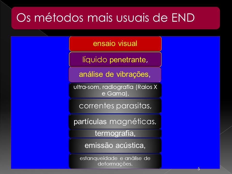 Os métodos mais usuais de END ensaio visual líquido penetrante, partículas magnéticas, ultra-som, radiografia (Raios X e Gama), correntes parasitas, a
