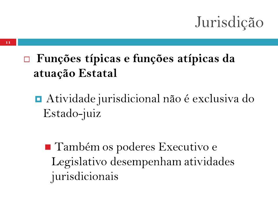 Jurisdição 11  Funções típicas e funções atípicas da atuação Estatal  Atividade jurisdicional não é exclusiva do Estado-juiz  Também os poderes Executivo e Legislativo desempenham atividades jurisdicionais