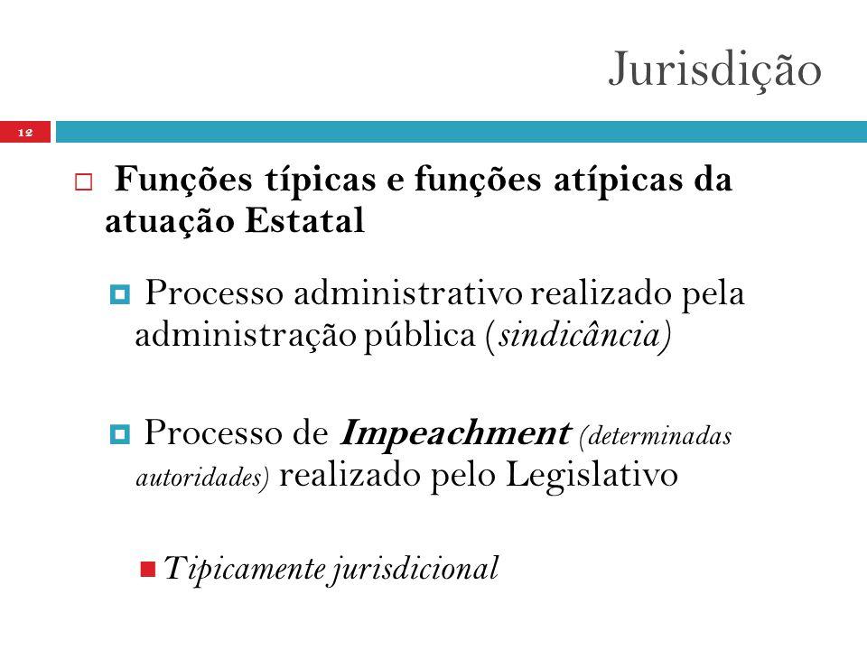 Jurisdição 12  Funções típicas e funções atípicas da atuação Estatal  Processo administrativo realizado pela administração pública ( sindicância)  Processo de Impeachment (determinadas autoridades) realizado pelo Legislativo  Tipicamente jurisdicional
