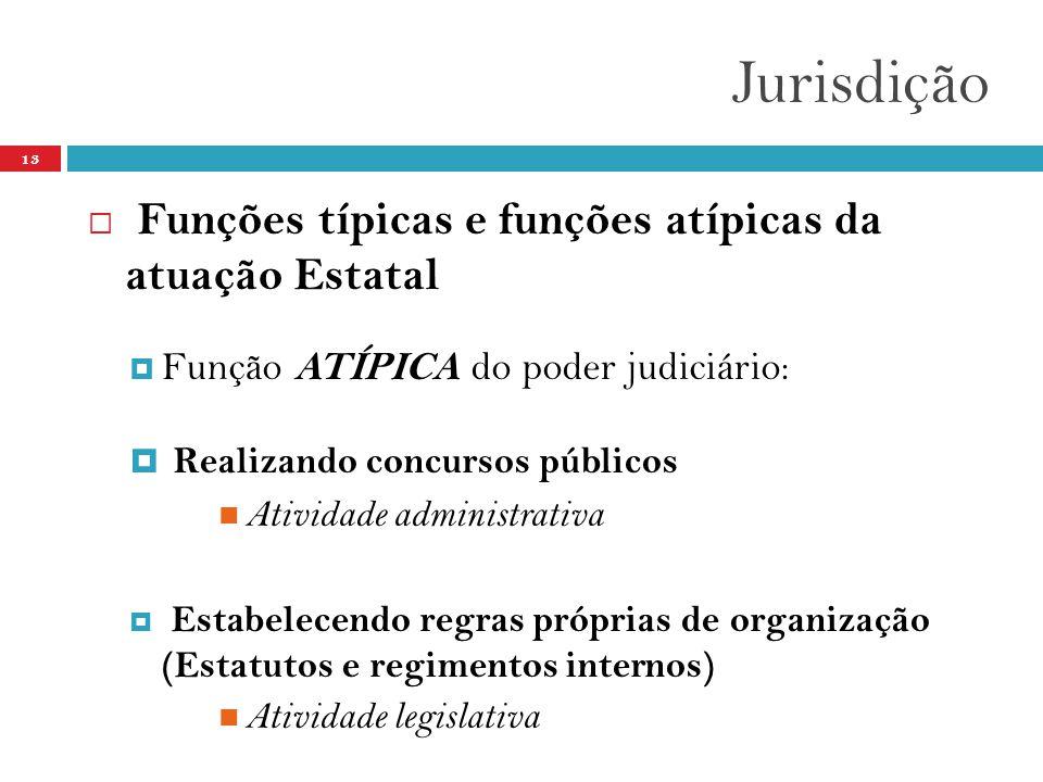 Jurisdição 13  Funções típicas e funções atípicas da atuação Estatal  Função ATÍPICA do poder judiciário:  Realizando concursos públicos  Atividad
