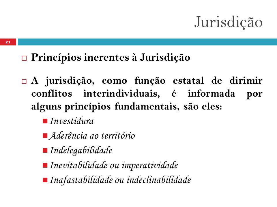 Jurisdição 21  Princípios inerentes à Jurisdição  A jurisdição, como função estatal de dirimir conflitos interindividuais, é informada por alguns princípios fundamentais, são eles:  Investidura  Aderência ao território  Indelegabilidade  Inevitabilidade ou imperatividade  Inafastabilidade ou indeclinabilidade
