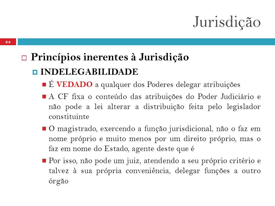 Jurisdição 24  Princípios inerentes à Jurisdição  INDELEGABILIDADE  É VEDADO a qualquer dos Poderes delegar atribuições  A CF fixa o conteúdo das