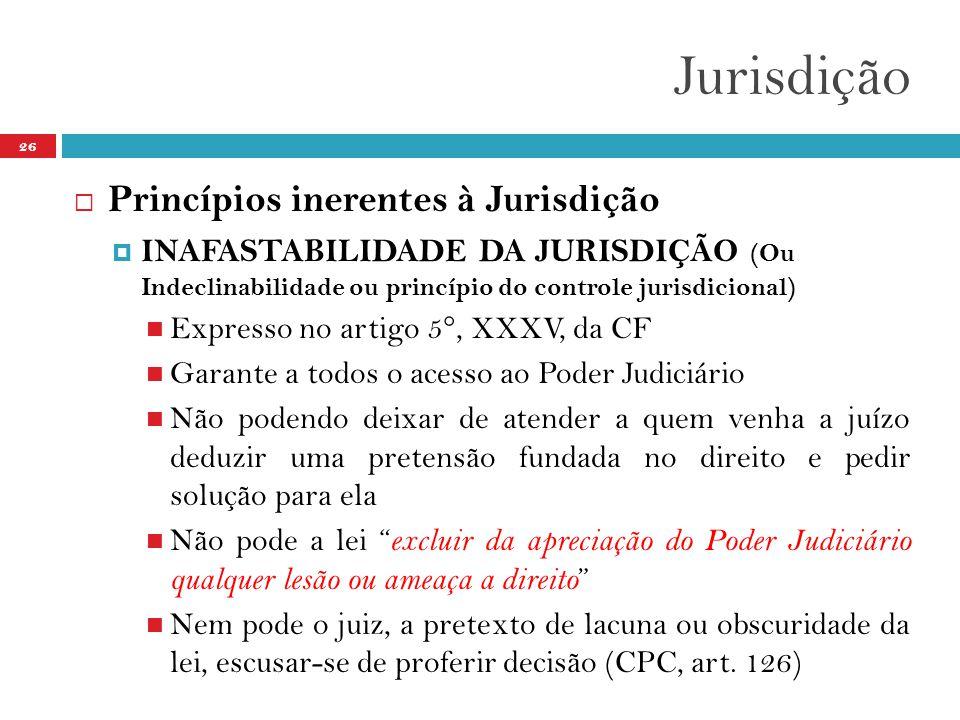 Jurisdição 26  Princípios inerentes à Jurisdição  INAFASTABILIDADE DA JURISDIÇÃO (Ou Indeclinabilidade ou princípio do controle jurisdicional)  Exp