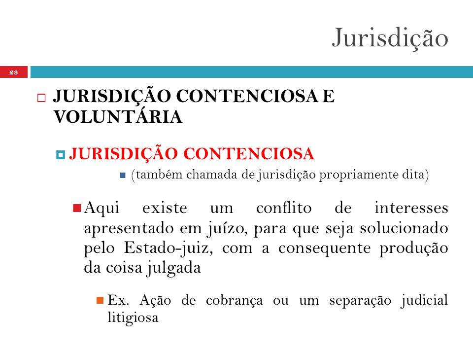 Jurisdição 28  JURISDIÇÃO CONTENCIOSA E VOLUNTÁRIA  JURISDIÇÃO CONTENCIOSA  (também chamada de jurisdição propriamente dita)  Aqui existe um conflito de interesses apresentado em juízo, para que seja solucionado pelo Estado-juiz, com a consequente produção da coisa julgada  Ex.