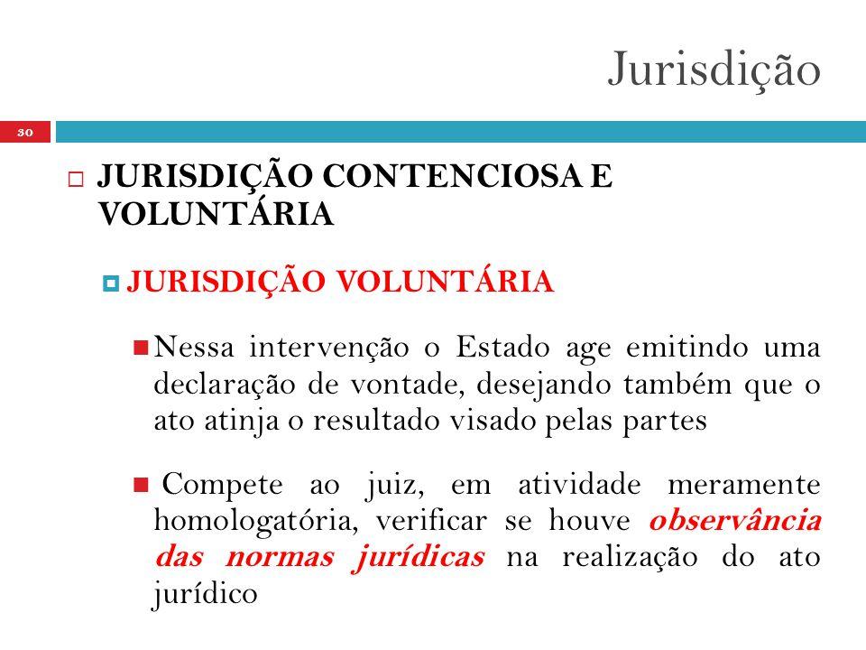 Jurisdição 30  JURISDIÇÃO CONTENCIOSA E VOLUNTÁRIA  JURISDIÇÃO VOLUNTÁRIA  Nessa intervenção o Estado age emitindo uma declaração de vontade, desejando também que o ato atinja o resultado visado pelas partes  Compete ao juiz, em atividade meramente homologatória, verificar se houve observância das normas jurídicas na realização do ato jurídico