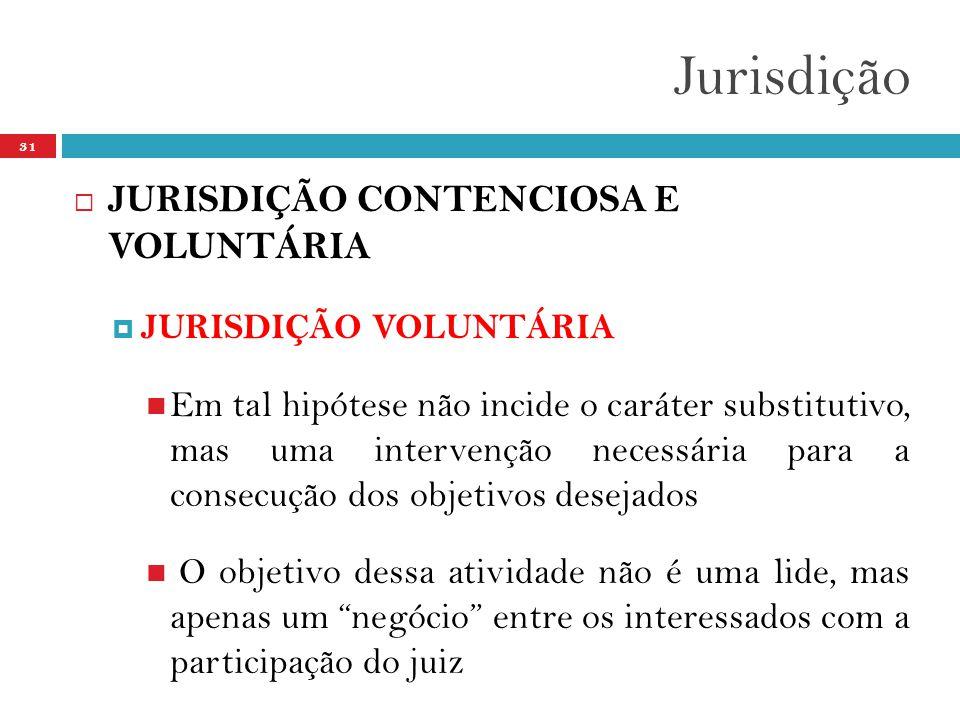 Jurisdição 31  JURISDIÇÃO CONTENCIOSA E VOLUNTÁRIA  JURISDIÇÃO VOLUNTÁRIA  Em tal hipótese não incide o caráter substitutivo, mas uma intervenção necessária para a consecução dos objetivos desejados  O objetivo dessa atividade não é uma lide, mas apenas um negócio entre os interessados com a participação do juiz