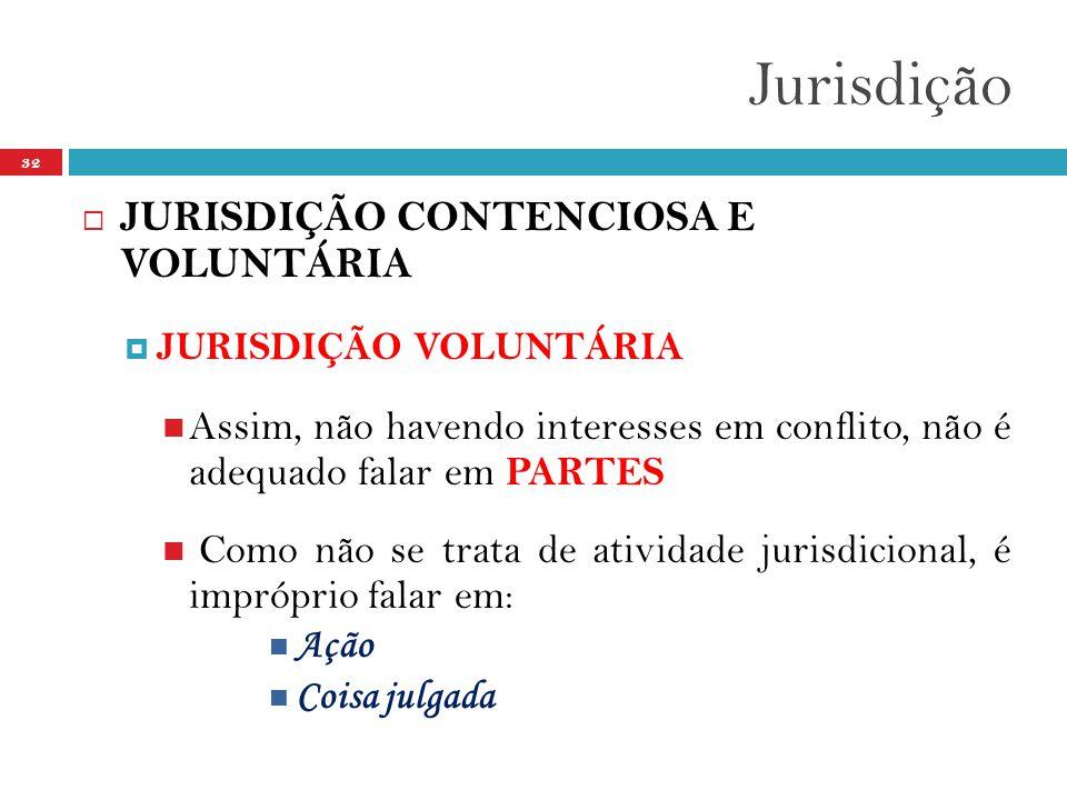 Jurisdição 32  JURISDIÇÃO CONTENCIOSA E VOLUNTÁRIA  JURISDIÇÃO VOLUNTÁRIA  Assim, não havendo interesses em conflito, não é adequado falar em PARTES  Como não se trata de atividade jurisdicional, é impróprio falar em:  Ação  Coisa julgada