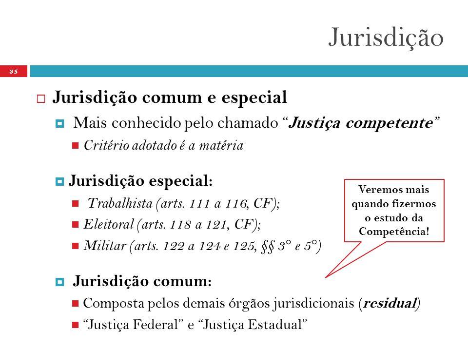 Jurisdição 35  Jurisdição comum e especial  Mais conhecido pelo chamado Justiça competente  Critério adotado é a matéria  Jurisdição especial:  Trabalhista (arts.