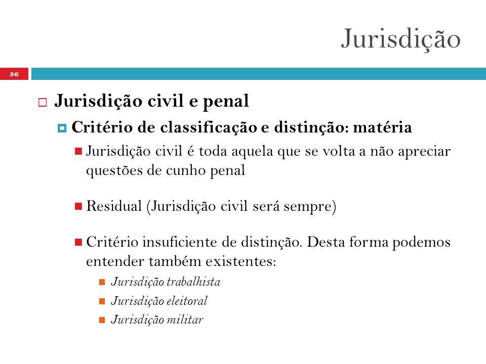 Jurisdição 36  Jurisdição civil e penal  Critério de classificação e distinção: matéria  Jurisdição civil é toda aquela que se volta a não apreciar