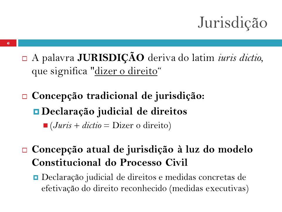 Jurisdição 6  A palavra JURISDIÇÃO deriva do latim iuris dictio, que significa