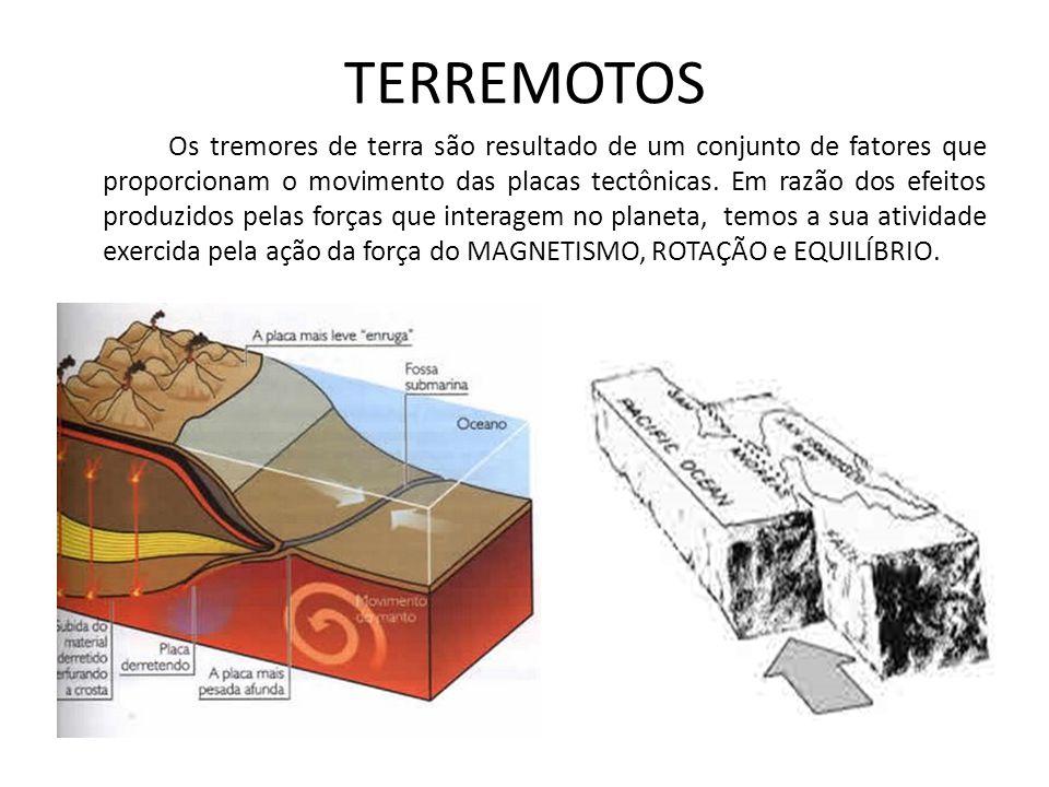 TERREMOTOS Os tremores de terra são resultado de um conjunto de fatores que proporcionam o movimento das placas tectônicas. Em razão dos efeitos produ