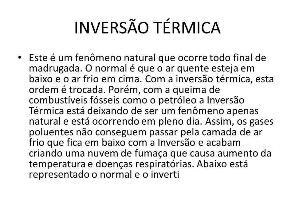 INVERSÃO TÉRMICA • Este é um fenômeno natural que ocorre todo final de madrugada. O normal é que o ar quente esteja em baixo e o ar frio em cima. Com