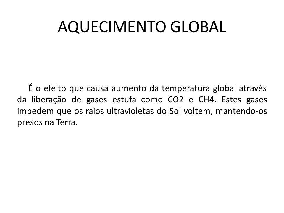 AQUECIMENTO GLOBAL É o efeito que causa aumento da temperatura global através da liberação de gases estufa como CO2 e CH4. Estes gases impedem que os