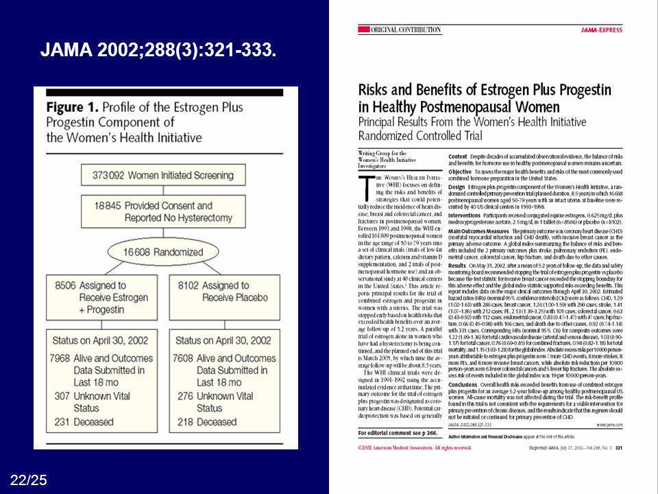Evidências.com 22/25 JAMA 2002;288(3):321-333.