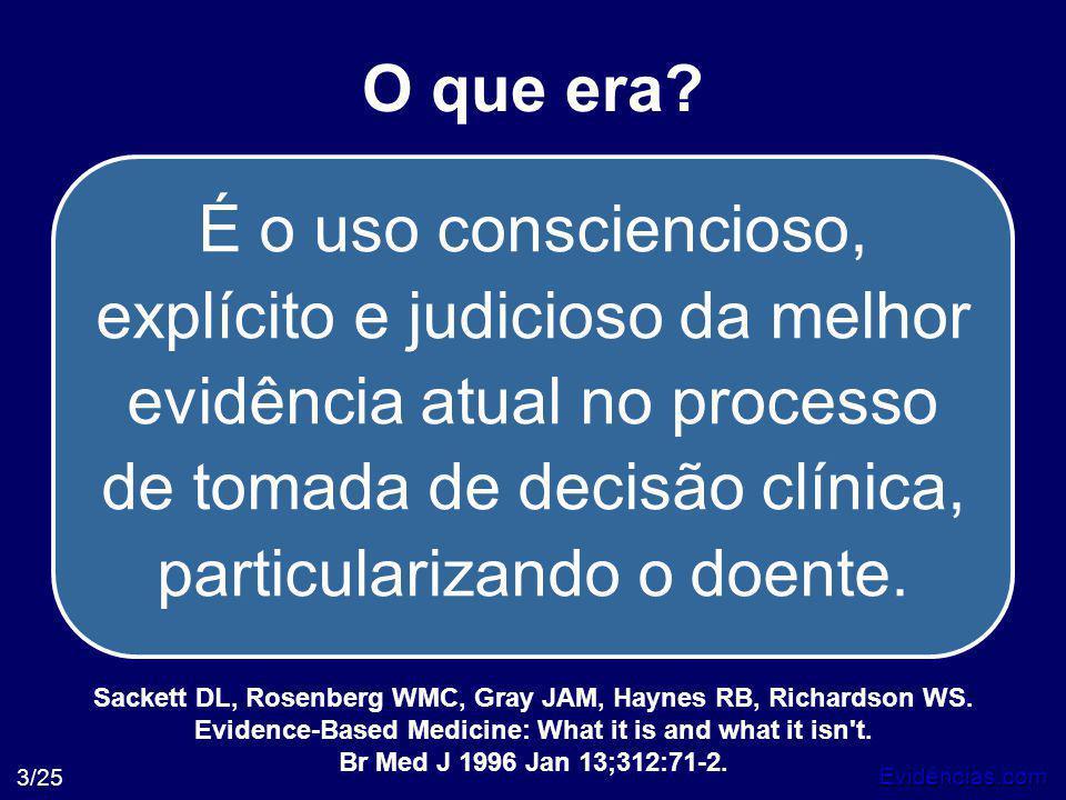 Evidências.com 3/25 O que era? É o uso consciencioso, explícito e judicioso da melhor evidência atual no processo de tomada de decisão clínica, partic