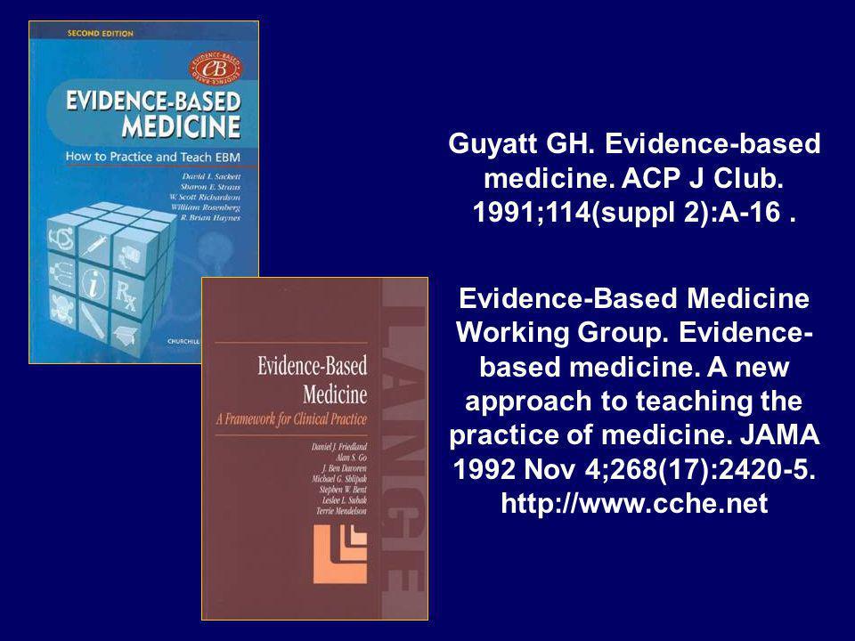 Guyatt GH. Evidence-based medicine. ACP J Club. 1991;114(suppl 2):A-16. Evidence-Based Medicine Working Group. Evidence- based medicine. A new approac