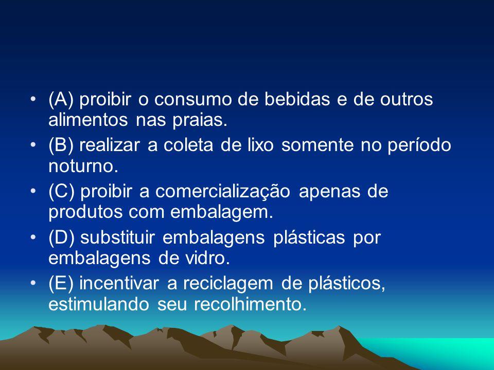 •(A) proibir o consumo de bebidas e de outros alimentos nas praias. •(B) realizar a coleta de lixo somente no período noturno. •(C) proibir a comercia