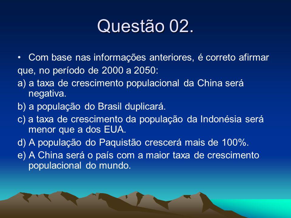 Questão 02. •Com base nas informações anteriores, é correto afirmar que, no período de 2000 a 2050: a) a taxa de crescimento populacional da China ser