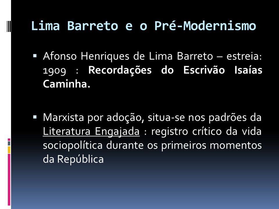 Lima Barreto e o Pré-Modernismo  Afonso Henriques de Lima Barreto – estreia: 1909 : Recordações do Escrivão Isaías Caminha.  Marxista por adoção, si
