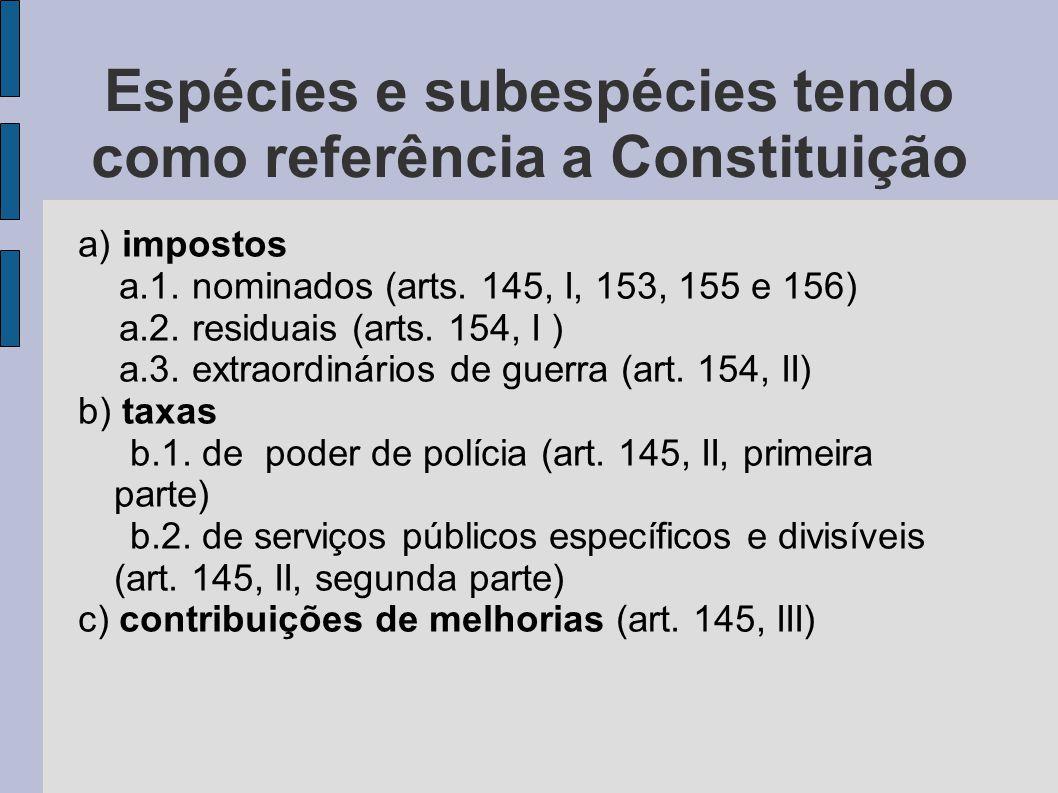 Espécies e subespécies tendo como referência a Constituição a) impostos a.1.