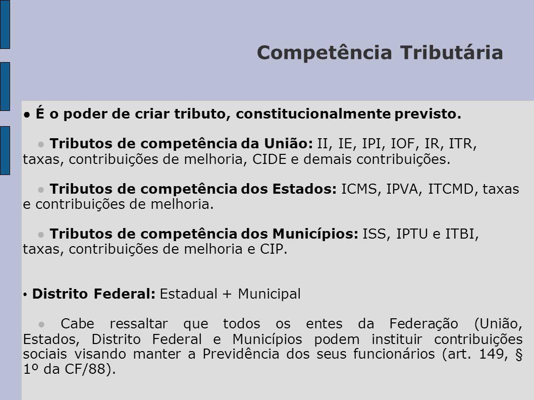 Competência Tributária ● É o poder de criar tributo, constitucionalmente previsto.
