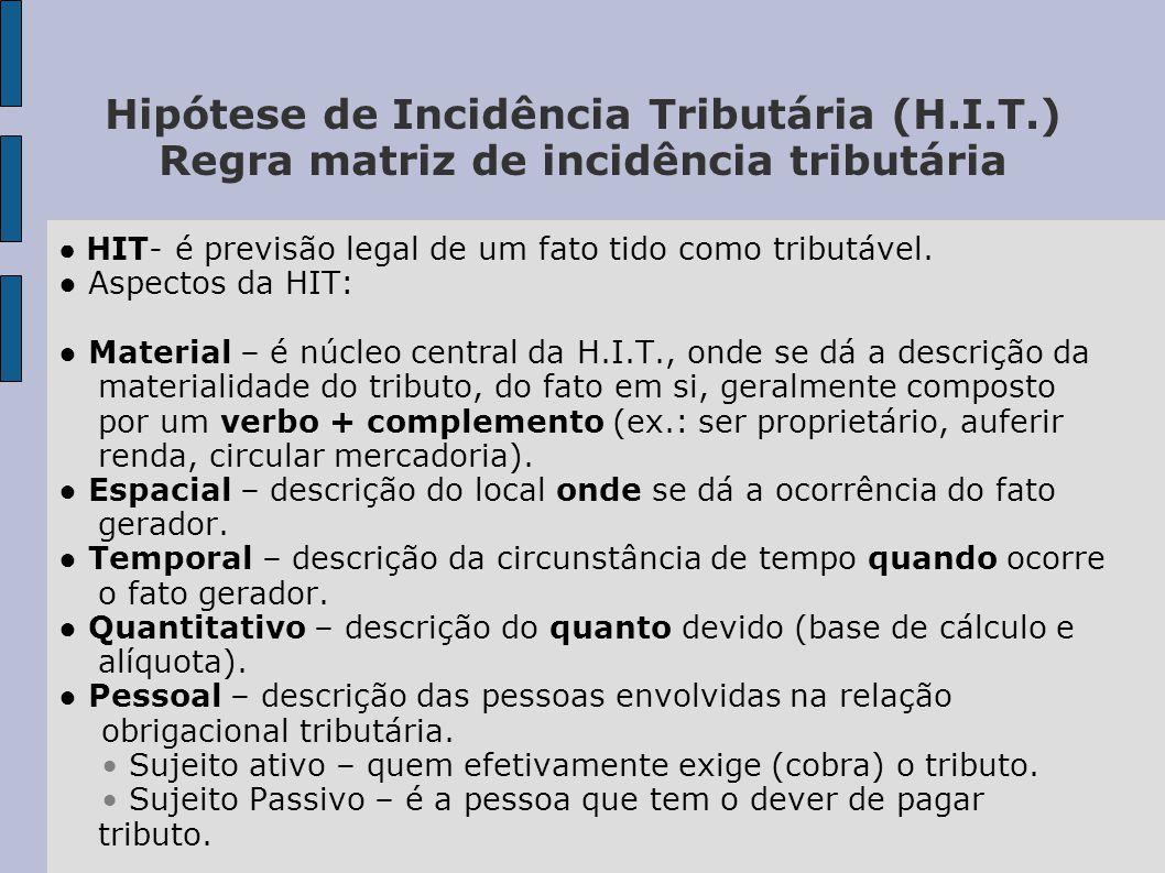 Hipótese de Incidência Tributária (H.I.T.) Regra matriz de incidência tributária ● HIT- é previsão legal de um fato tido como tributável.
