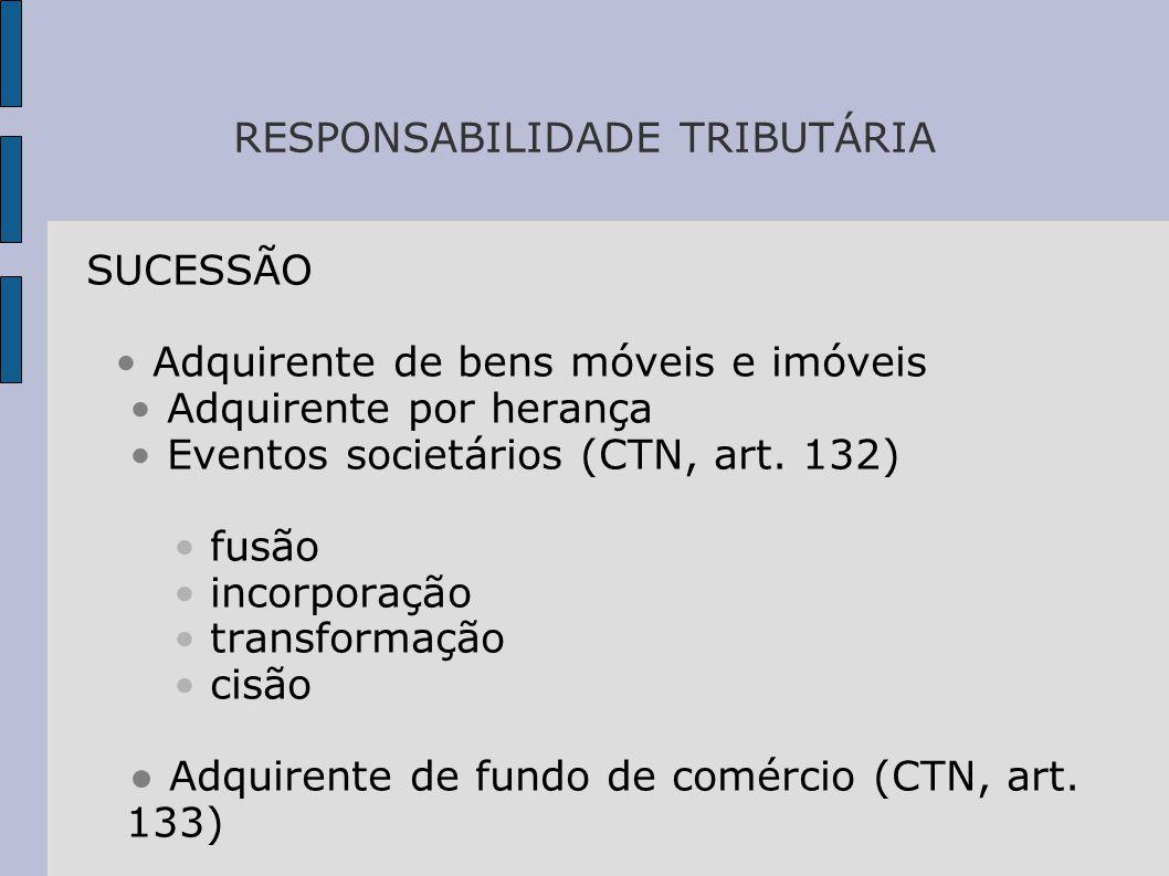RESPONSABILIDADE TRIBUTÁRIA SUCESSÃO • Adquirente de bens móveis e imóveis • Adquirente por herança • Eventos societários (CTN, art.