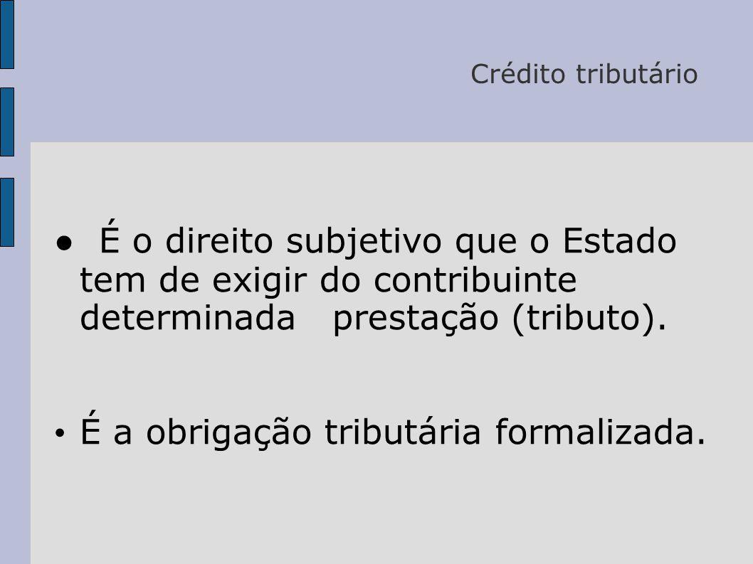 Crédito tributário ● É o direito subjetivo que o Estado tem de exigir do contribuinte determinada prestação (tributo).