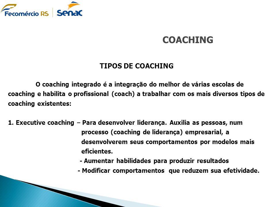 COACHING TIPOS DE COACHING O coaching integrado é a integração do melhor de várias escolas de coaching e habilita o profissional (coach) a trabalhar c