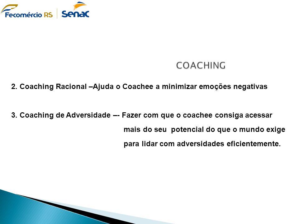 2. Coaching Racional –Ajuda o Coachee a minimizar emoções negativas 3. Coaching de Adversidade –- Fazer com que o coachee consiga acessar mais do seu