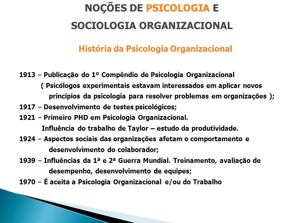 NOÇÕES DE PSICOLOGIA E SOCIOLOGIA ORGANIZACIONAL História da Psicologia Organizacional 1913 – Publicação do 1º Compêndio de Psicologia Organizacional