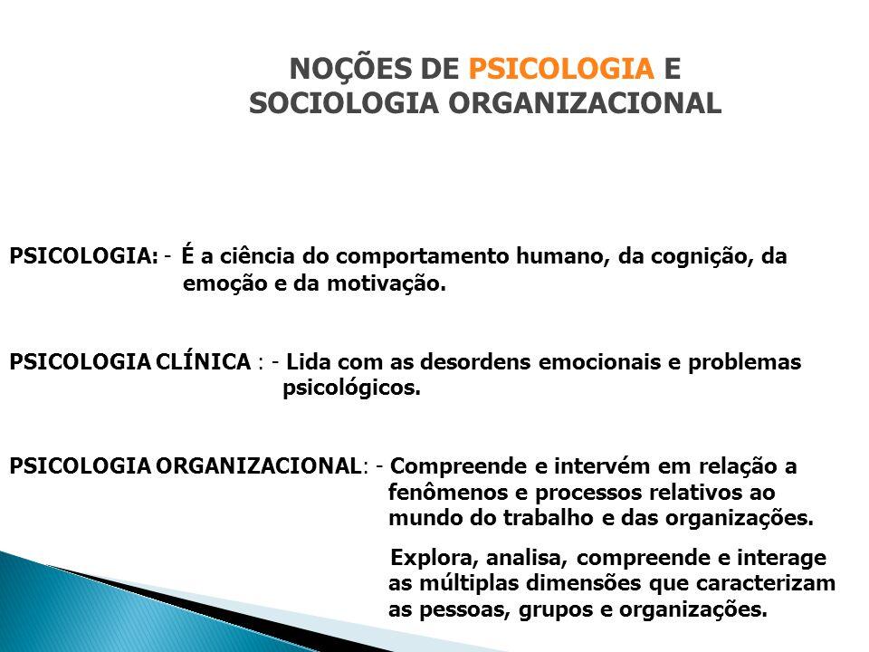 PSICOLOGIA: - É a ciência do comportamento humano, da cognição, da emoção e da motivação. PSICOLOGIA CLÍNICA : - Lida com as desordens emocionais e pr