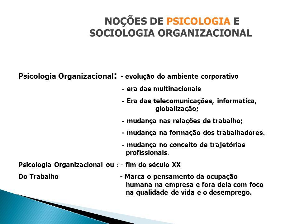 NOÇÕES DE PSICOLOGIA E SOCIOLOGIA ORGANIZACIONAL Psicologia Organizacional : - evolução do ambiente corporativo - era das multinacionais - Era das tel