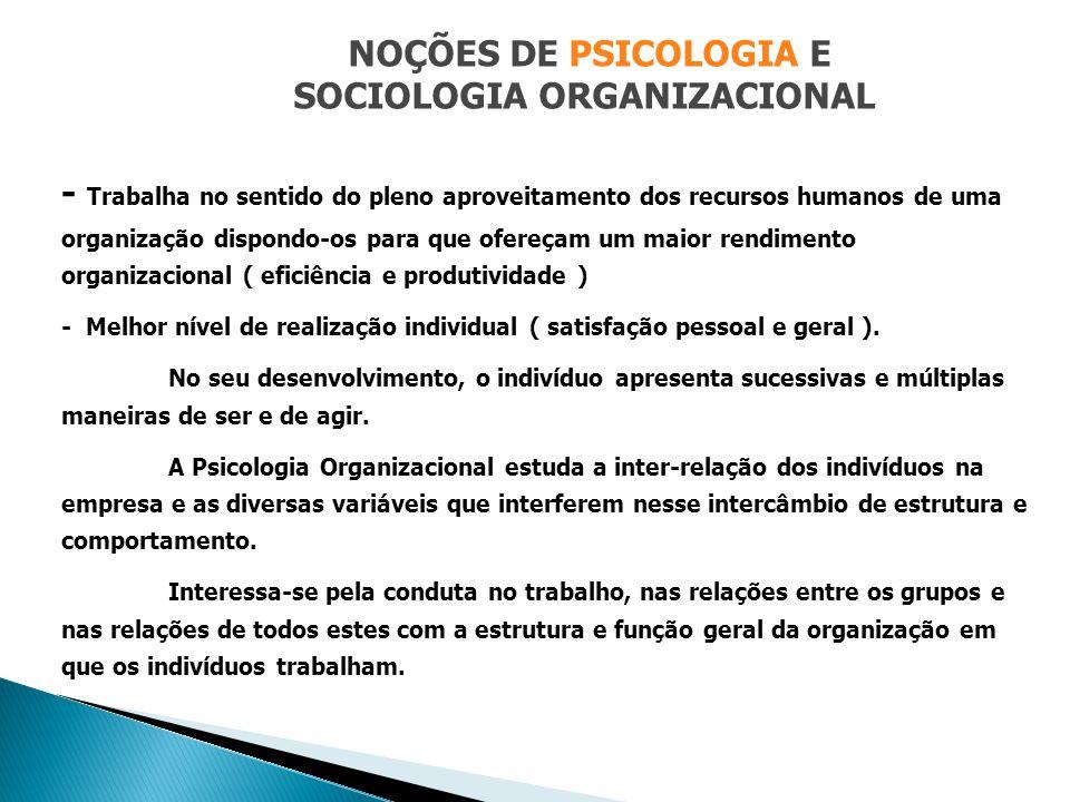 NOÇÕES DE PSICOLOGIA E SOCIOLOGIA ORGANIZACIONAL - Trabalha no sentido do pleno aproveitamento dos recursos humanos de uma organização dispondo-os par
