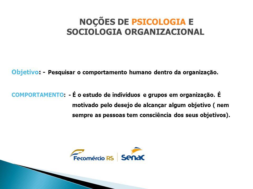 NOÇÕES DE PSICOLOGIA E SOCIOLOGIA ORGANIZACIONAL Objetivo: - Pesquisar o comportamento humano dentro da organização. COMPORTAMENTO: - É o estudo de in