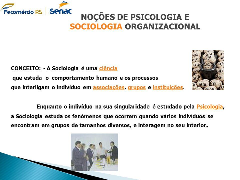 CONCEITO: - A Sociologia é uma ciênciaciência que estuda o comportamento humano e os processos que interligam o indivíduo em associações, grupos e ins