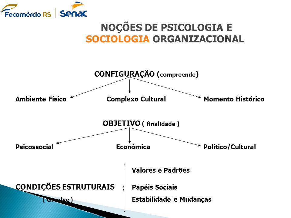 NOÇÕES DE PSICOLOGIA E SOCIOLOGIA ORGANIZACIONAL CONFIGURAÇÃO ( compreende ) Ambiente Físico Complexo Cultural Momento Histórico OBJETIVO ( finalidade