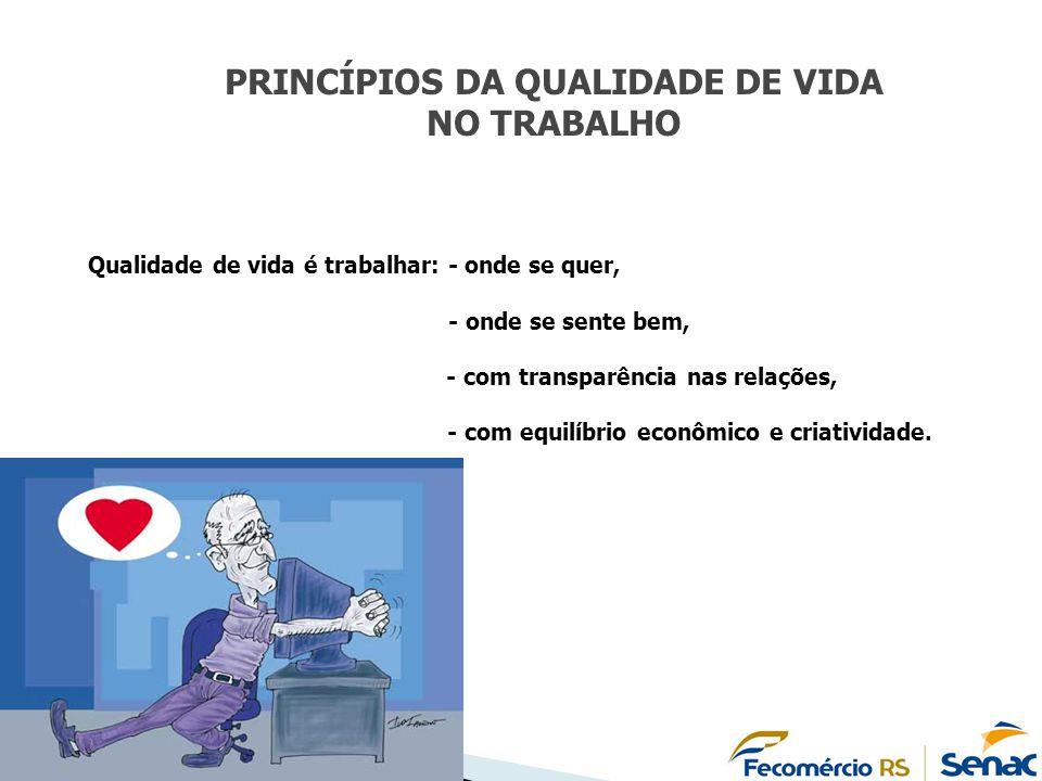 PRINCÍPIOS DA QUALIDADE DE VIDA NO TRABALHO Qualidade de vida é trabalhar: - onde se quer, - onde se sente bem, - com transparência nas relações, - co