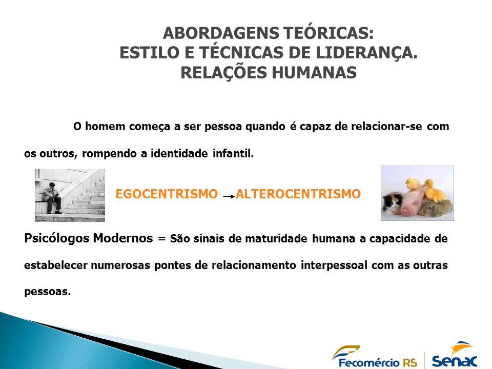ABORDAGENS TEÓRICAS: ESTILO E TÉCNICAS DE LIDERANÇA. RELAÇÕES HUMANAS O homem começa a ser pessoa quando é capaz de relacionar-se com os outros, rompe