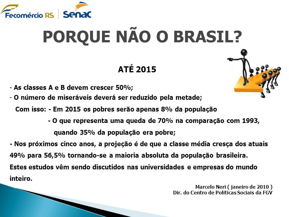 ATÉ 2015 - As classes A e B devem crescer 50%; - O número de miseráveis deverá ser reduzido pela metade; Com isso: - Em 2015 os pobres serão apenas 8%