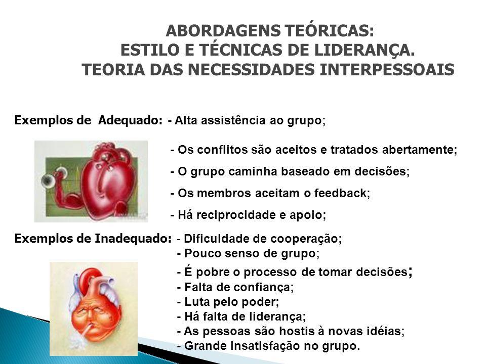 ABORDAGENS TEÓRICAS: ESTILO E TÉCNICAS DE LIDERANÇA. TEORIA DAS NECESSIDADES INTERPESSOAIS Exemplos de Adequado: - Alta assistência ao grupo; - Os con