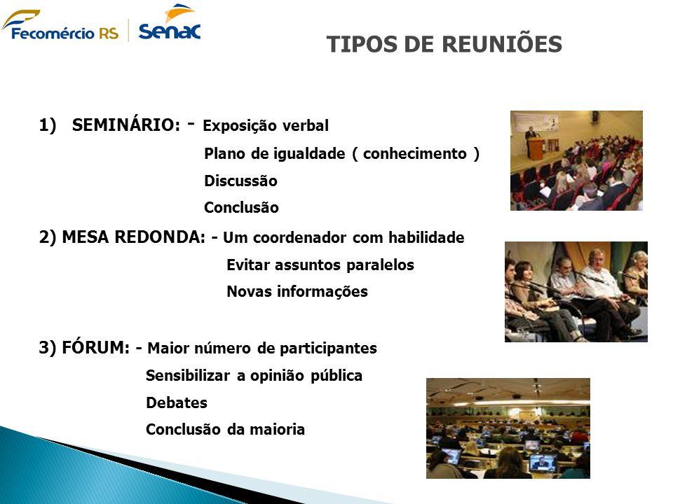 TIPOS DE REUNIÕES 1)SEMINÁRIO: - Exposição verbal Plano de igualdade ( conhecimento ) Discussão Conclusão 2) MESA REDONDA: - Um coordenador com habili