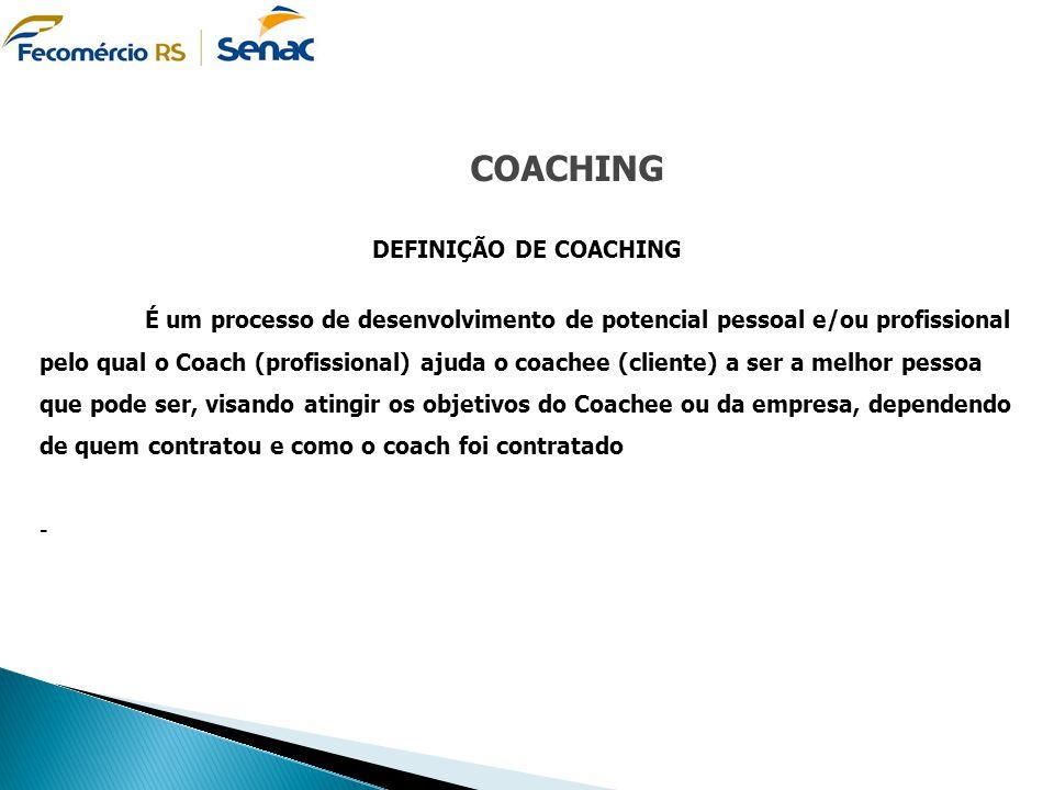 COACHING DEFINIÇÃO DE COACHING É um processo de desenvolvimento de potencial pessoal e/ou profissional pelo qual o Coach (profissional) ajuda o coache