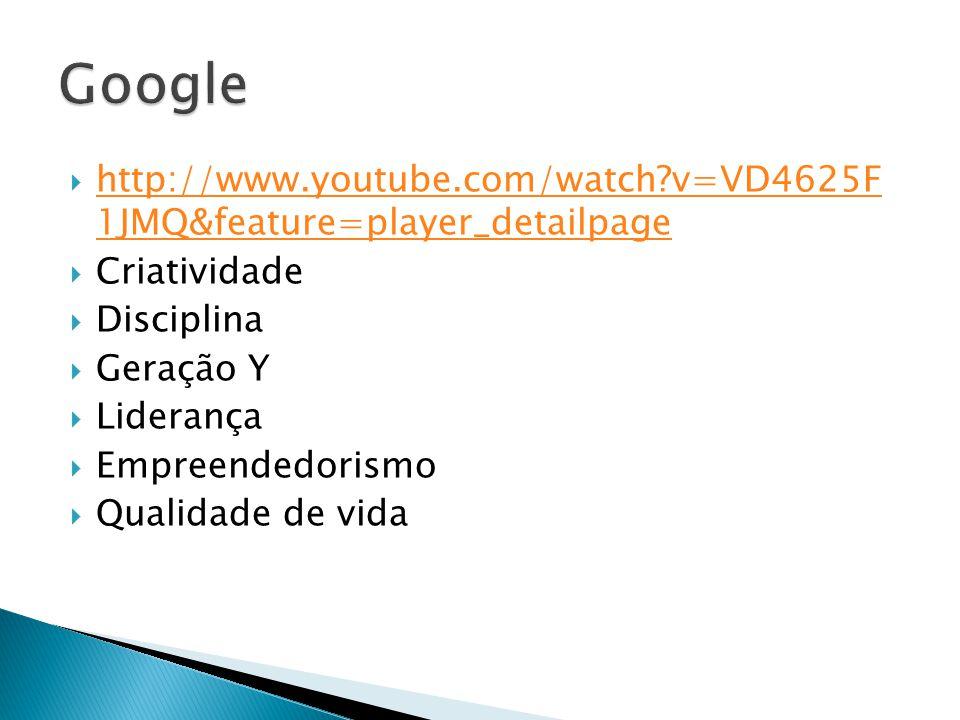  http://www.youtube.com/watch?v=VD4625F 1JMQ&feature=player_detailpage http://www.youtube.com/watch?v=VD4625F 1JMQ&feature=player_detailpage  Criatividade  Disciplina  Geração Y  Liderança  Empreendedorismo  Qualidade de vida