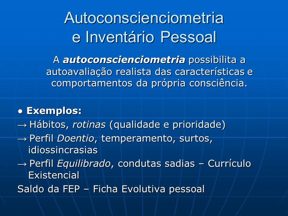 Autoconscienciometria e Inventário Pessoal A autoconscienciometria possibilita a autoavaliação realista das características e comportamentos da própri