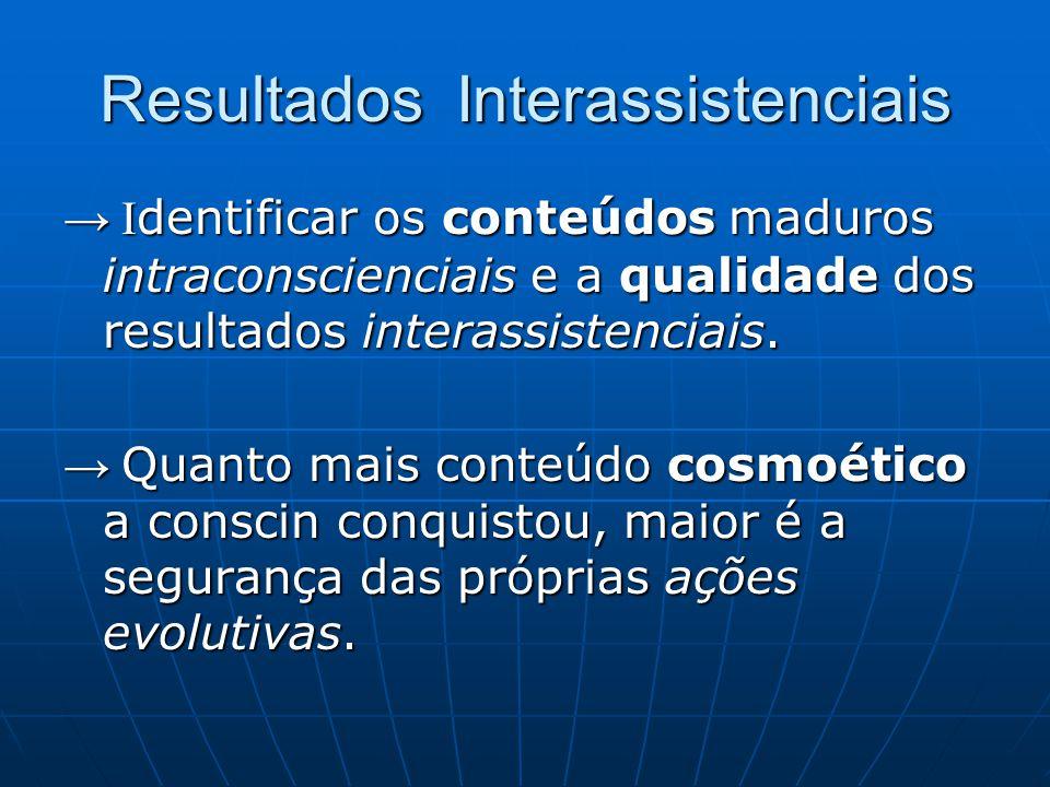 Resultados Interassistenciais → I dentificar os conteúdos maduros intraconscienciais e a qualidade dos resultados interassistenciais. → Quanto mais co