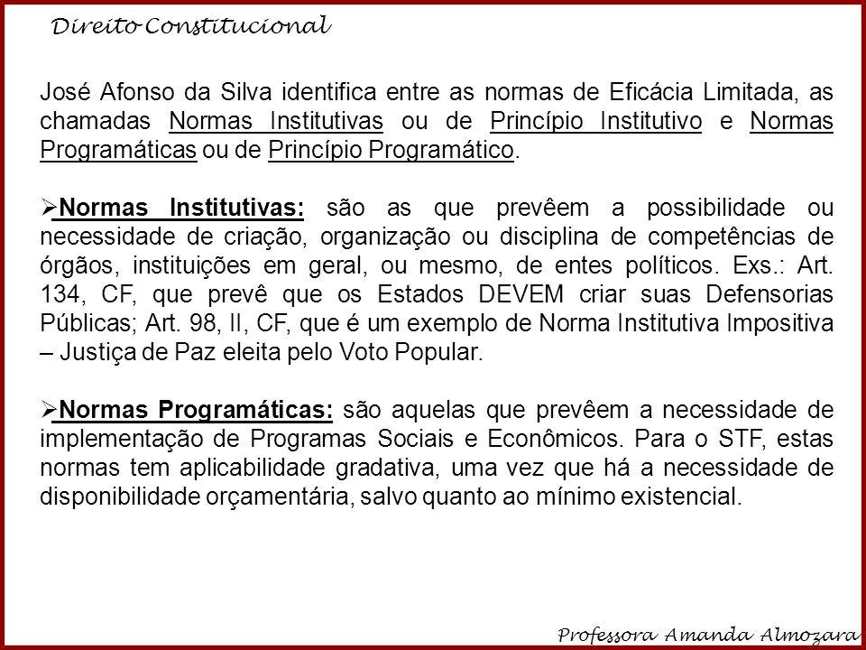 Direito Constitucional Professora Amanda Almozara 20 José Afonso da Silva identifica entre as normas de Eficácia Limitada, as chamadas Normas Institut